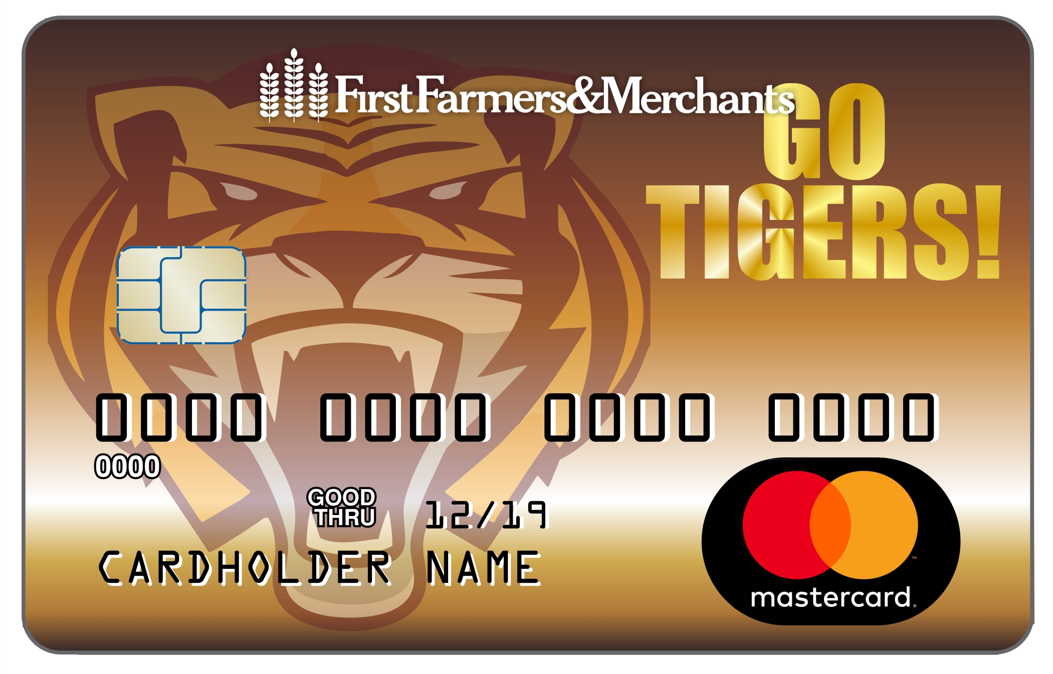 debit card with custom image of Go Tigers on it with a tiger face