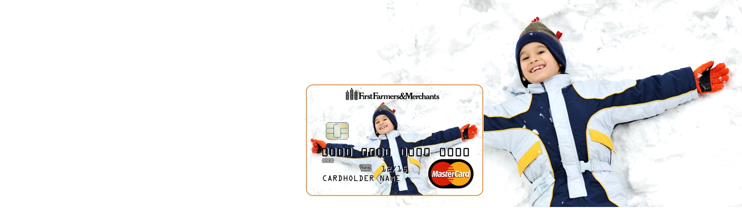 Web banner of boy in the snow with an inset photo of a debit card with the same image on it.