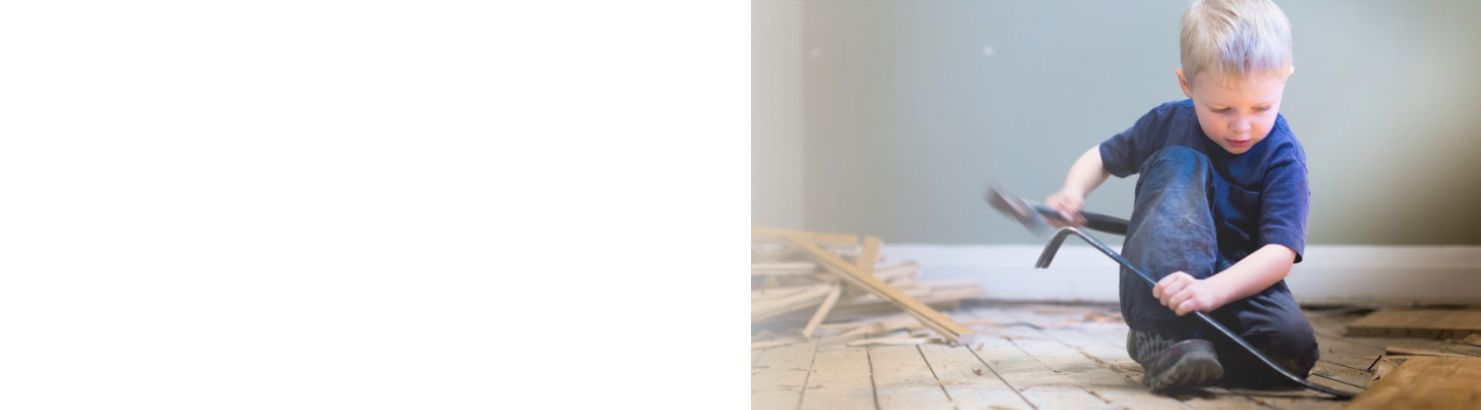 web banner of a little boy using a crow bar to take up wood flooring