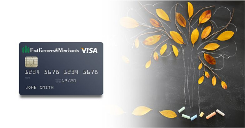 credit card with a fall tree