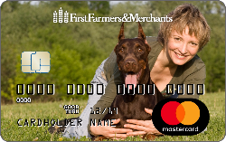 debit card with custom photo of a woman and her dog