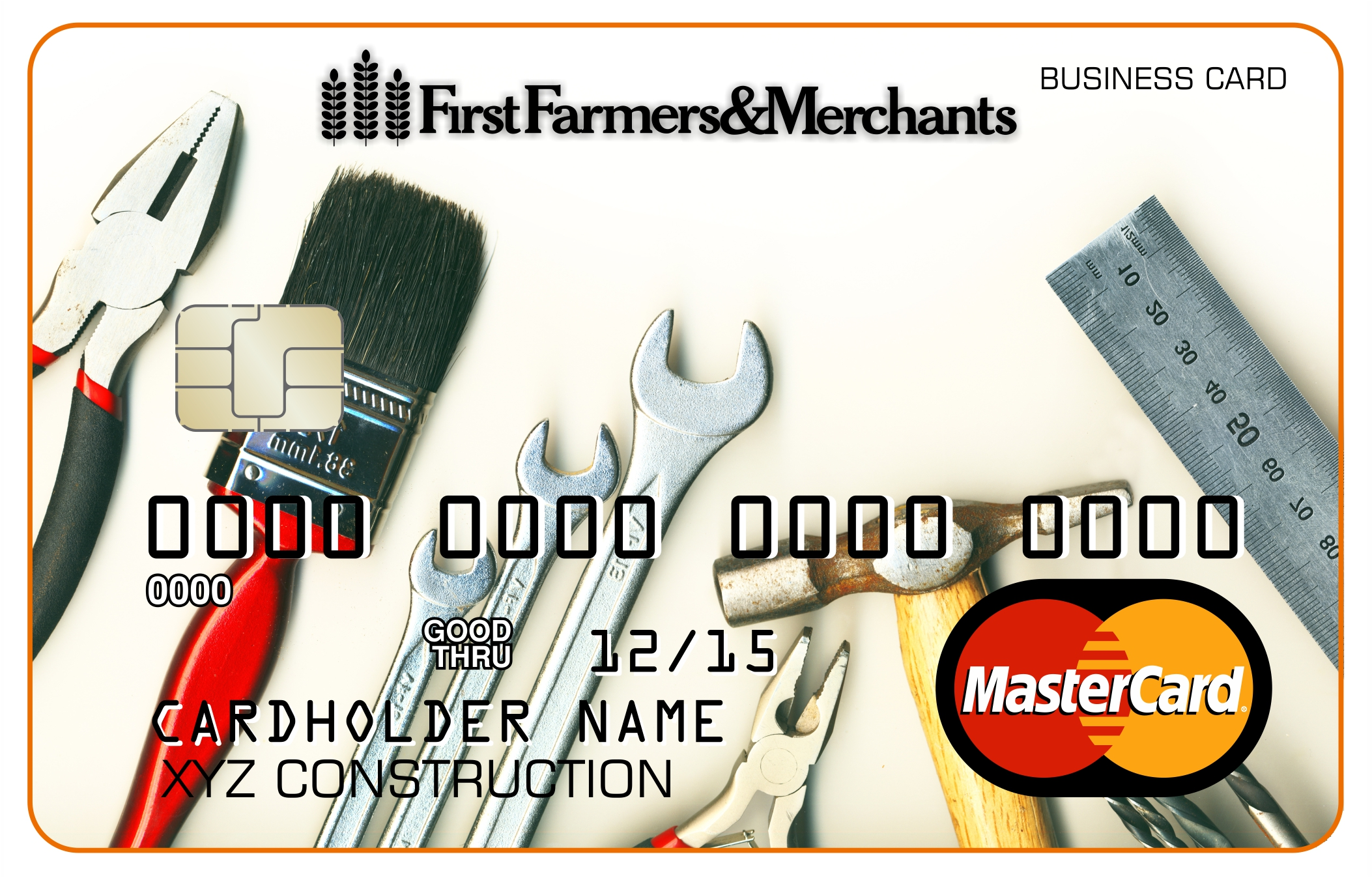 Image of a debit card with construction tools on it.