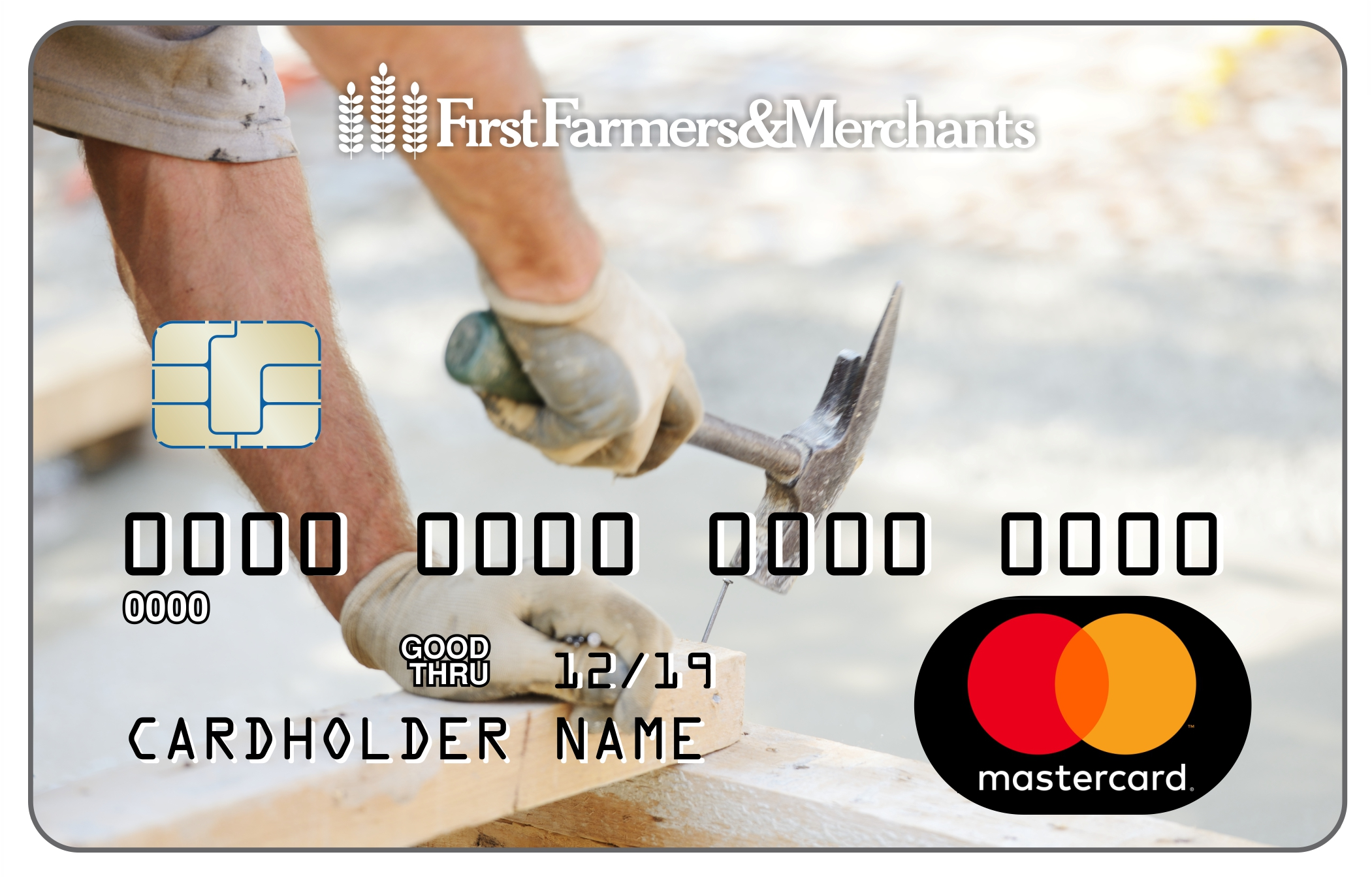 debit card with a photo of a man holding a hammer working on building a deck