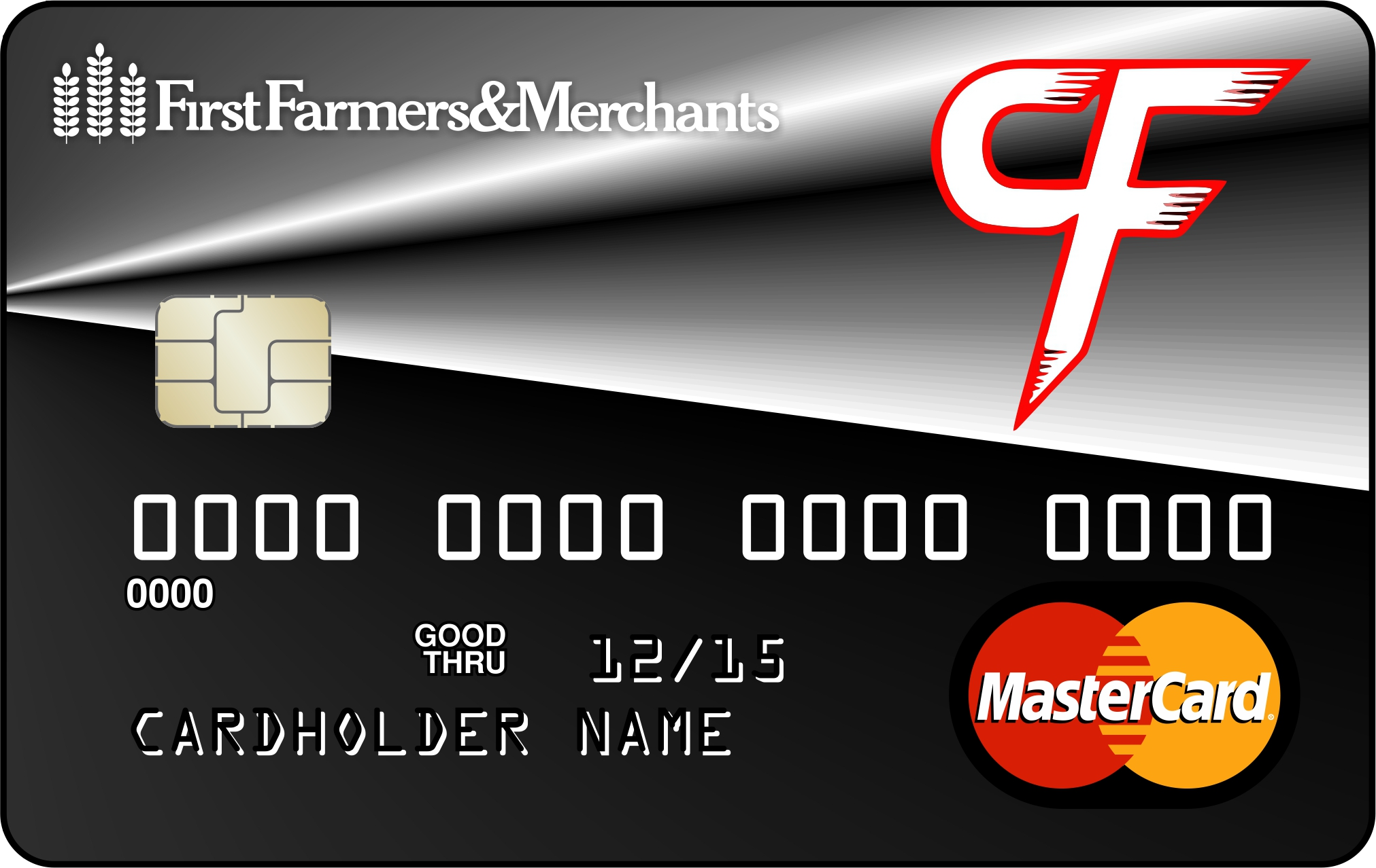 debit card with custom design of a CF on it