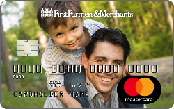 debit card with a photo of a latino father with a young boy on his shoulders smiling